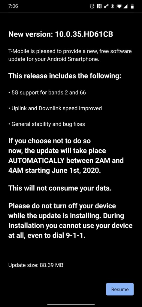 T Mobile 5G band 2 and 66 enabled on OnePlus 7 Pro