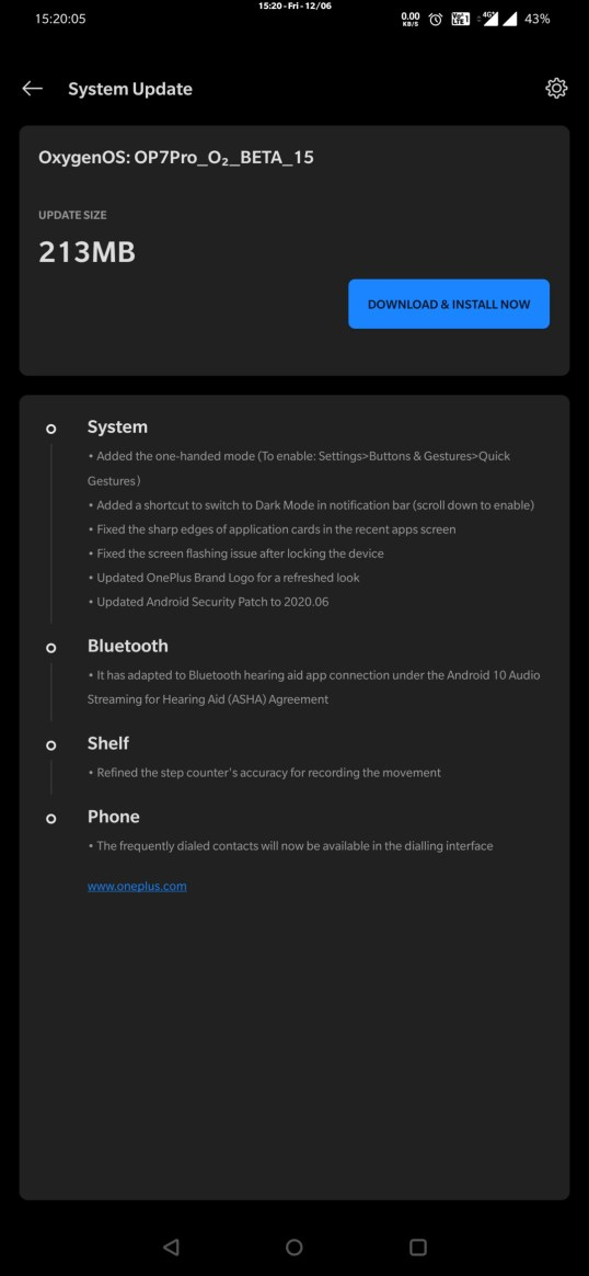 OnePlus 7 Pro Open Beta 15 update log