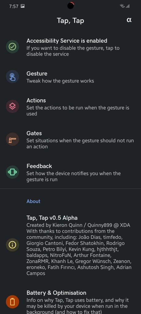 Back tap gesture for Android