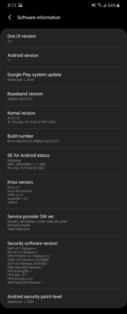One UI 3.0 based Android 11 for Galaxy S20