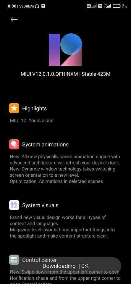 Redmi Note 7 Pro MIUI 12.0.1.0 OTA update download