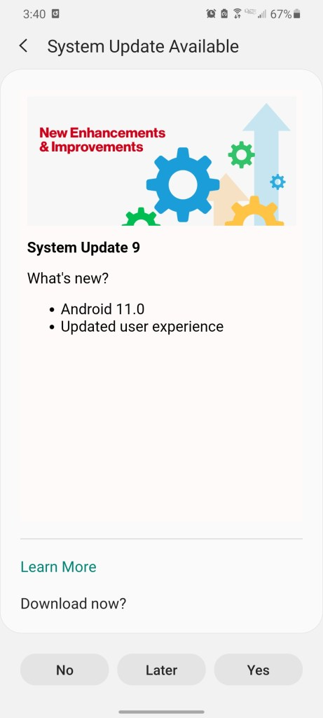 stable One UI 3.0 for Verizon galasy s20 based on android 11