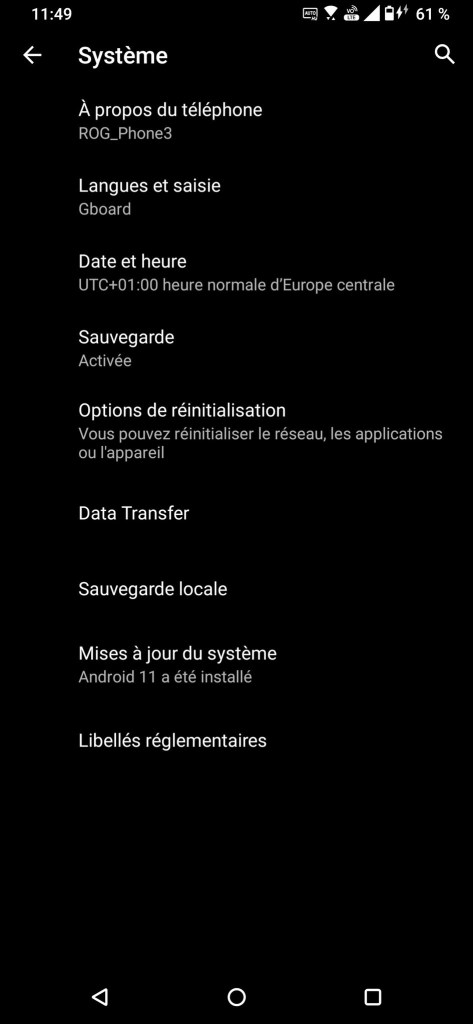 Asus ROG Phone 3 Android 11 beta screenshot