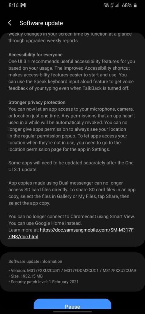 Samsung Galaxy M31s with OneUI 3.1 update