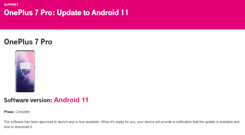 T-Mobile completed testing Oxygen OS 11 for OnePlus 7 Pro