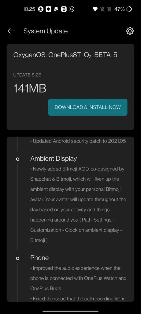 OnePlus 8T Open Beta 5 with Bitmoji