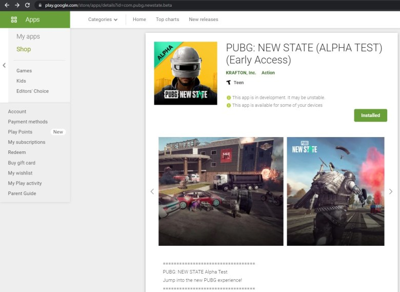 PUBG NEW STATE (ALPHA TEST) new Beta Play Store link
