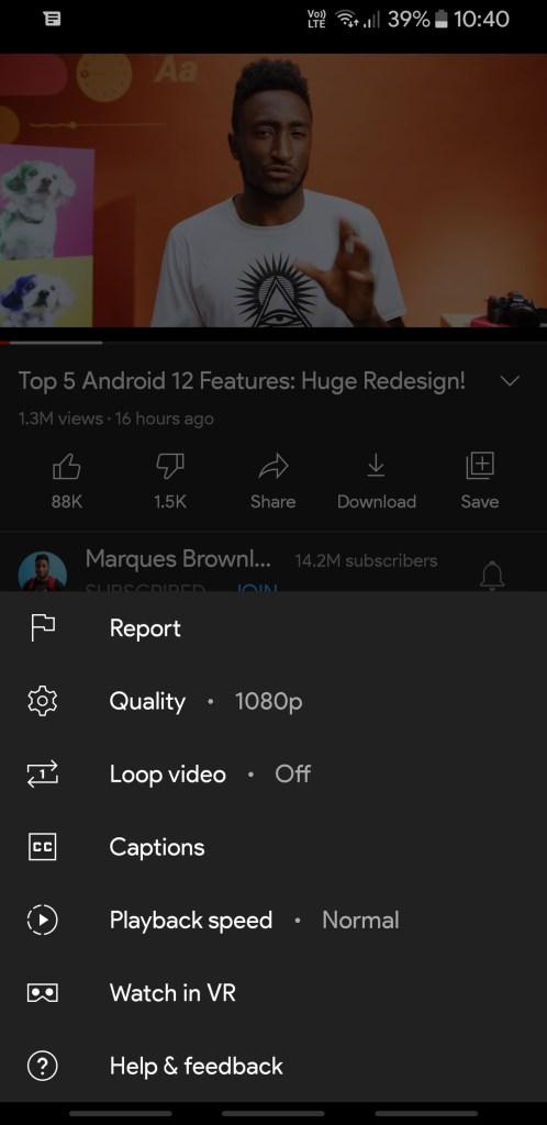 YouTube Vanced old video quality selector Screenshot (1)