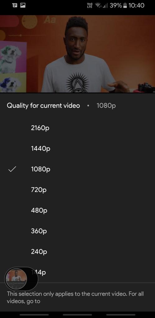 YouTube Vanced old video quality selector Screenshot (2)