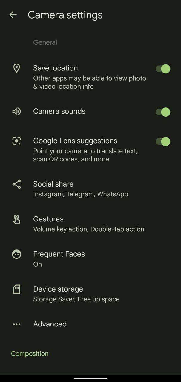 Google Camera 8.3 app screenshot settings options