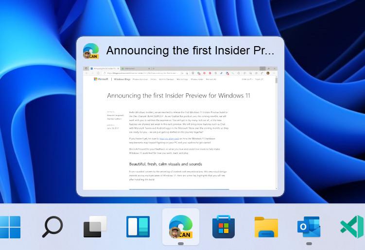 Windows 11 taskbar preview