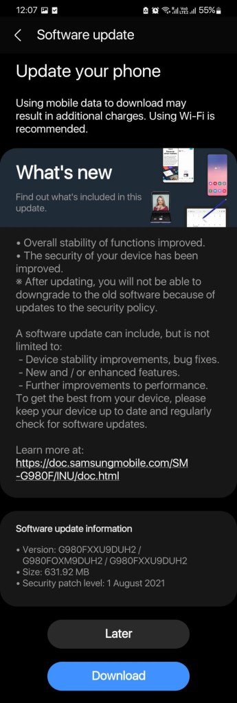 August 2021 security update for Galaxy S21 series