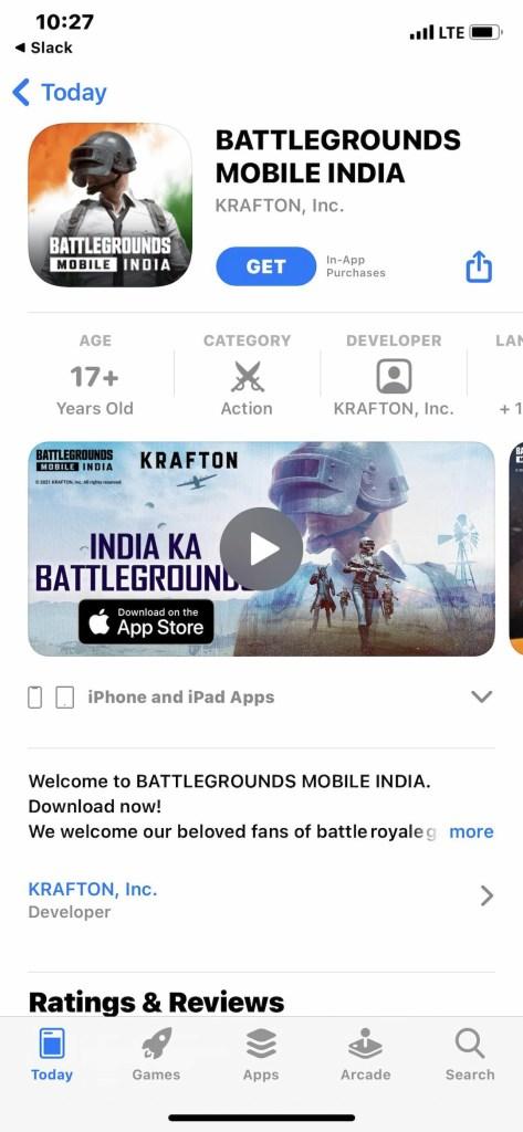 Battlegrounds Mobile India iOS download link