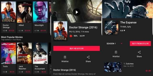 Google Play Movies se actualiza a un manera oscuro