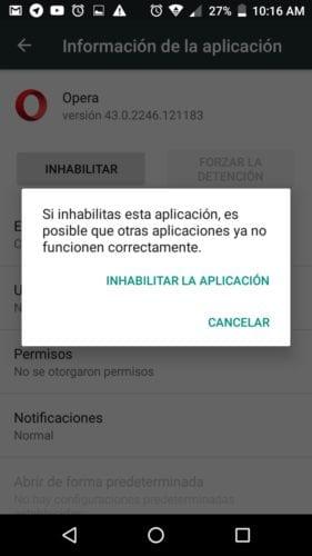 Cómo innhabilitar apps en Android