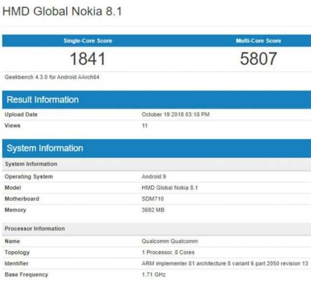 Nokia 8.1 desvelado en Geekbench