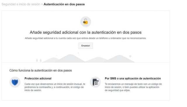 Verificacion en dos pasos Facebook