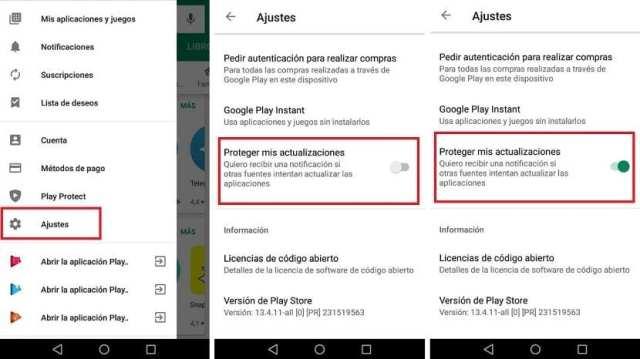 Google Play proteger actualizaciones