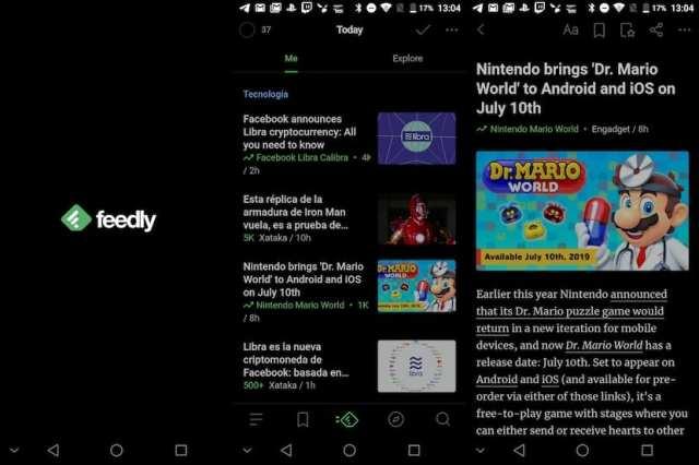 Feedly - Aplicaciones manera oscuro Android