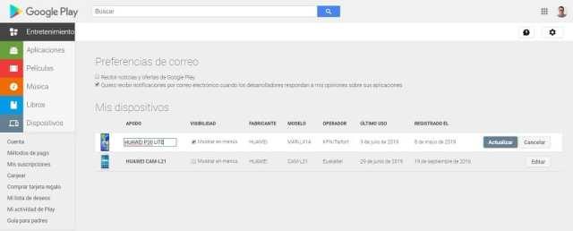 Google Play intercambiar nombre