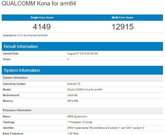Resultados obtenidos por el coprocesador Snapdragon 865 en la plataforma de pruebas de Geekbench
