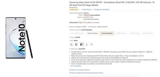 Samsung Galaxy℗ Note 10 asequible en Amazon