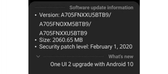Android 10 bajo Samsung℗ One UI 2.0 para el Galaxy℗ A70