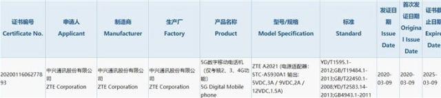 Certificación 3C del ZTE℗ Axon 11 5G