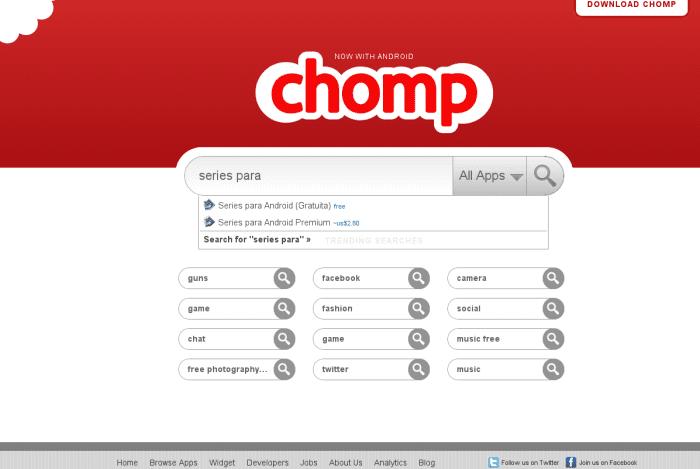 Chomp Web Chomp, ya para Android. Un motor de búsqueda de Apps.