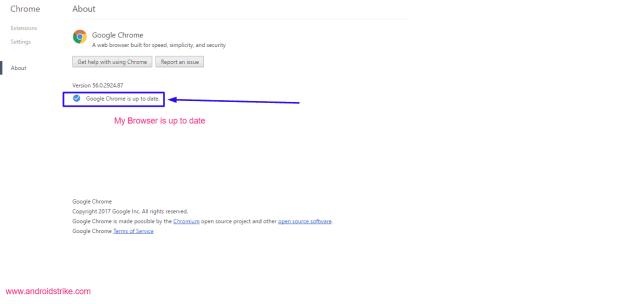 Google chrome check for updates