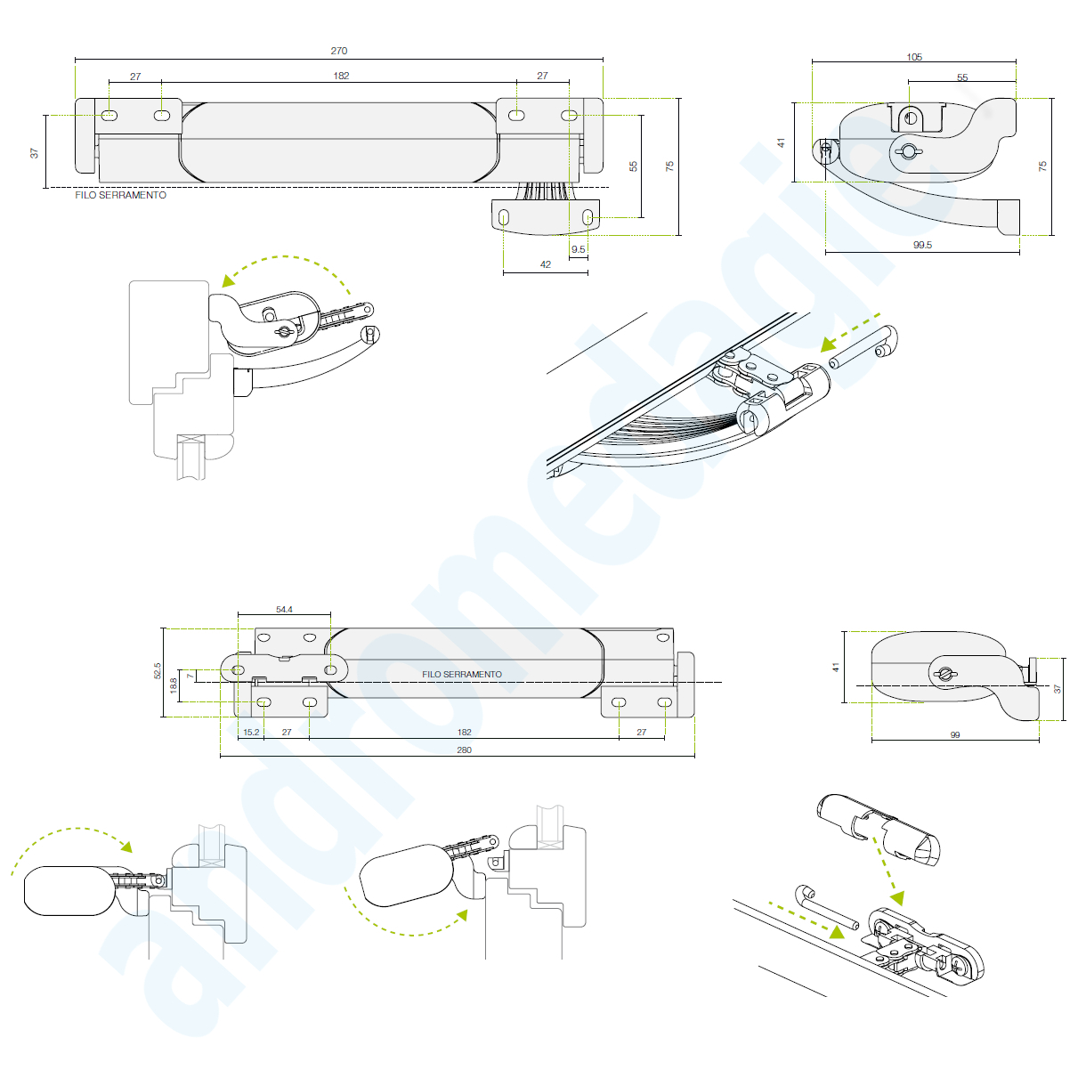 SMART 230V BIANCO MOWIN Motore a catena per finestre