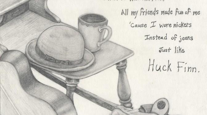 """Huck Finn"" — sketch by Becky Corkery"