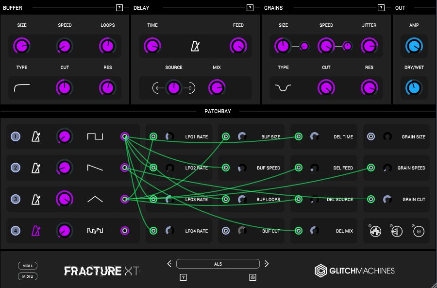 Review of Fracture XT patchable granular glitch processor VST by Glitchmachines