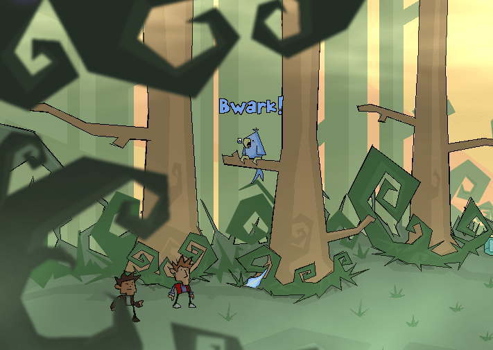 "Time Gentlemen, Please! screenshot depicting a couple of characters in a forest with a bird saying ""Bwark!"" sitting on a tree."