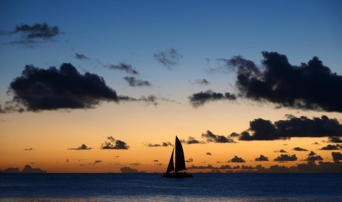 Sailing at dusk. A stunning, atmospheric photograph. © Copyright 2014 Andy Huntley photography
