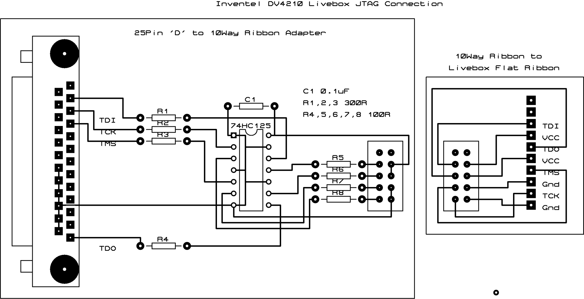 hight resolution of  my livebox wiggler jtag schematic the 30 way connector and flat cable