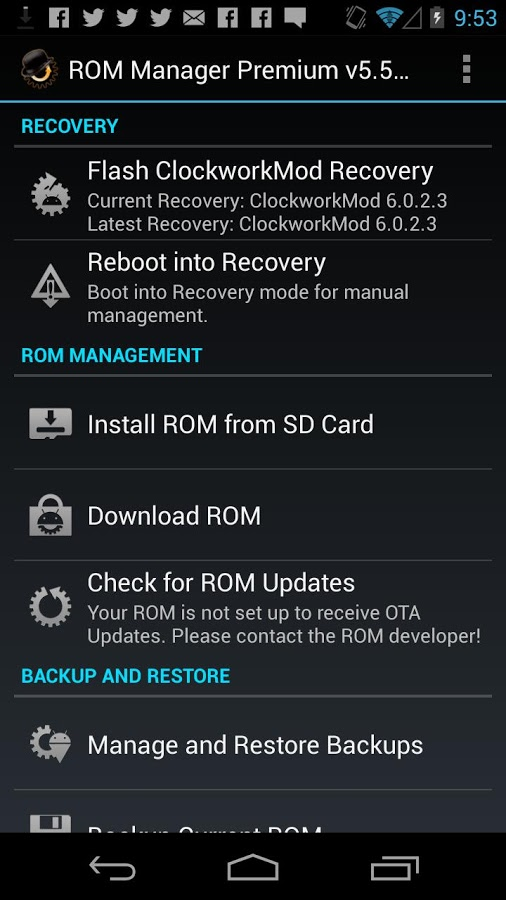 Download ROM Manager Android APK