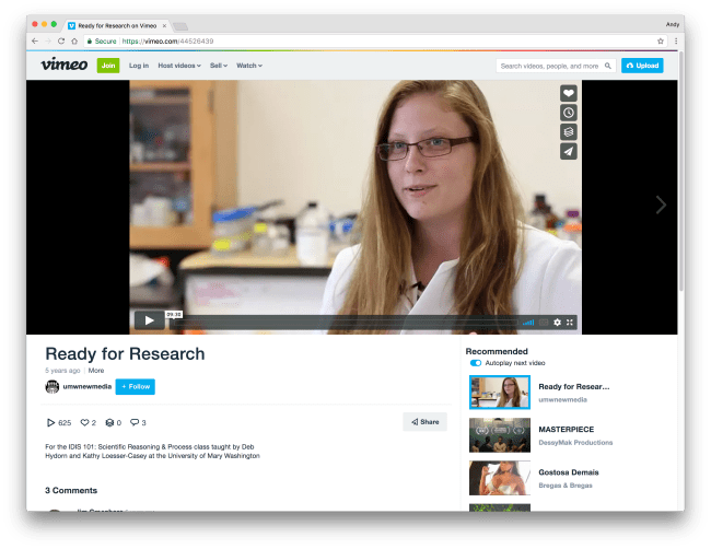 Ready for Research Video on Vimeo Screenshot