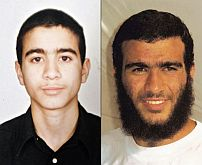 Omar Khadr, as he was at the time of his capture in 2002, and as he appears today