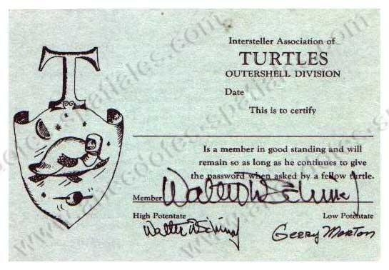Le certificat de la confrérie des Tortues