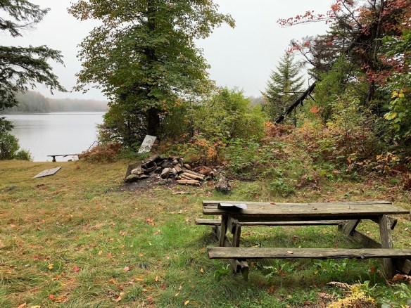 Pond-side campsite.