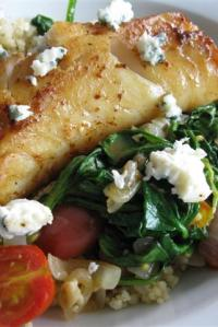 Fish with Sautéed Spinach & Tomatoes