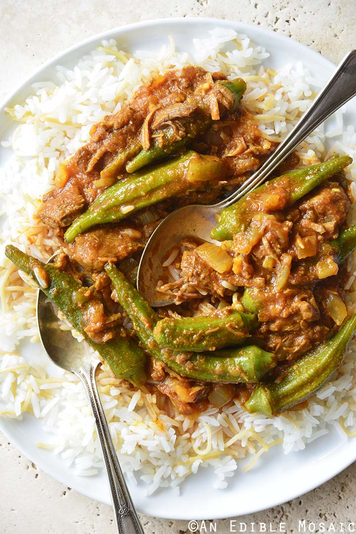Close Up of Persian Okra Stew (Khoresh Bamieh) on White Plate