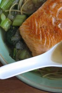 Fishbowl (Salmon Noodle Bowl with Greens & Garlic-Ginger-Honey Glaze)