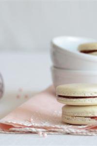 White Tea Macarons with Cherry Preserves