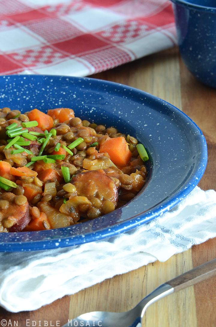 One Skillet Sausage, Lentil, and Veggie Supper 1