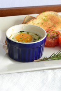 Oven-Coddled Eggs {With Chard, Parmesan, & Fresh Herbs}