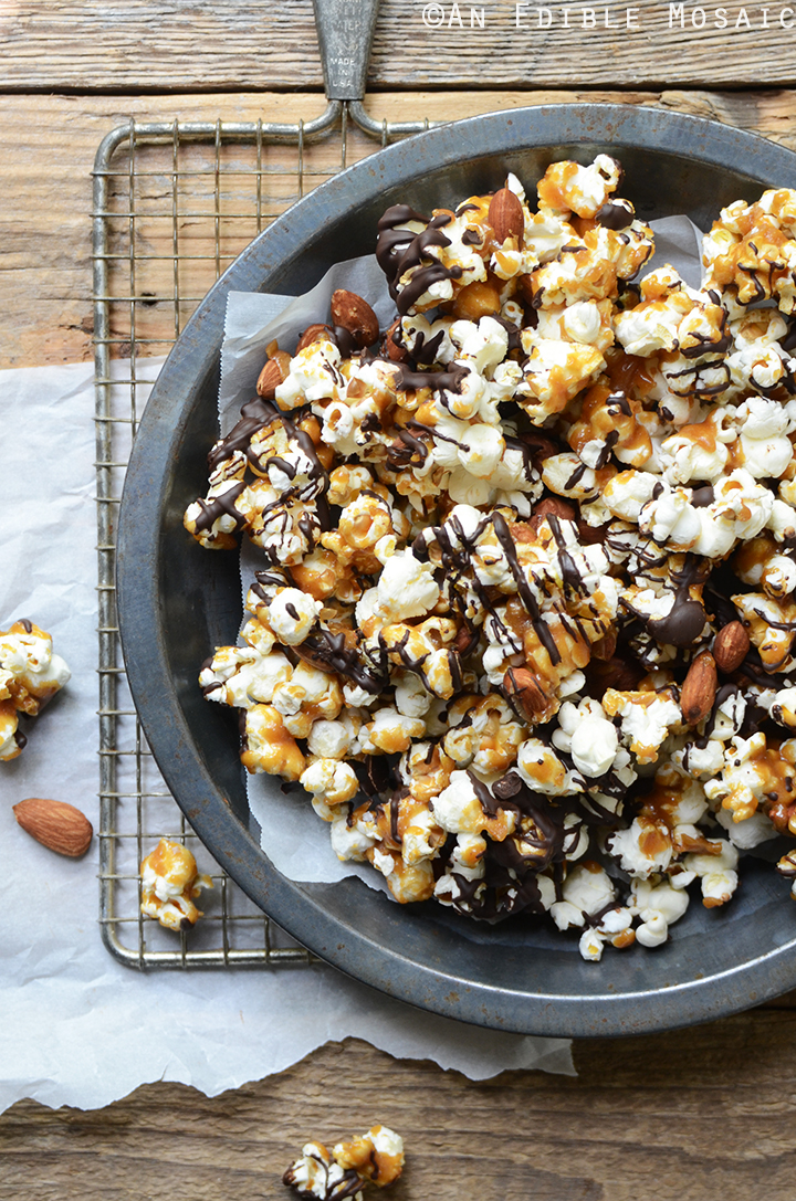 Salted Butter Toffee Popcorn with Dark Chocolate and Toasted Almonds 3