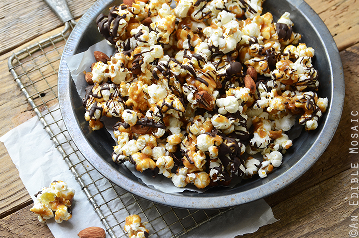 Salted Butter Toffee Popcorn with Dark Chocolate and Toasted Almonds 4