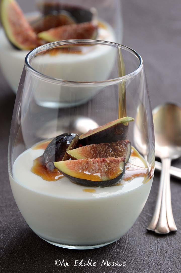 2 Glasses of Yogurt Mousse with Honey and Fresh Figs with Vintage Spoons